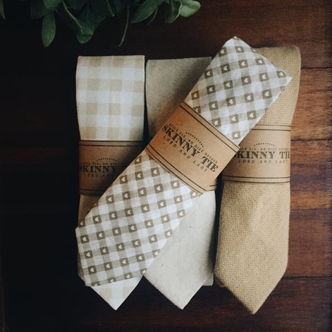 Khaki Plaid Skinny Tie - Lord and Lady