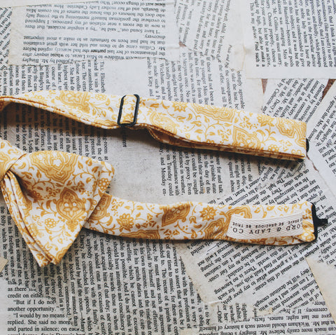 Handmade Lord and Lady bow tie. Harvest Gold. Adjustable.