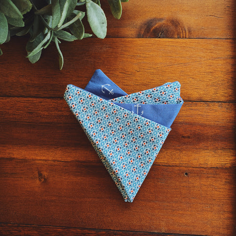 Little Man Pocket Square || Nautical Anchor || Lord and Lady