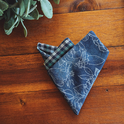 Little Man Pocket Square || Blue Floral || Lord and Lady