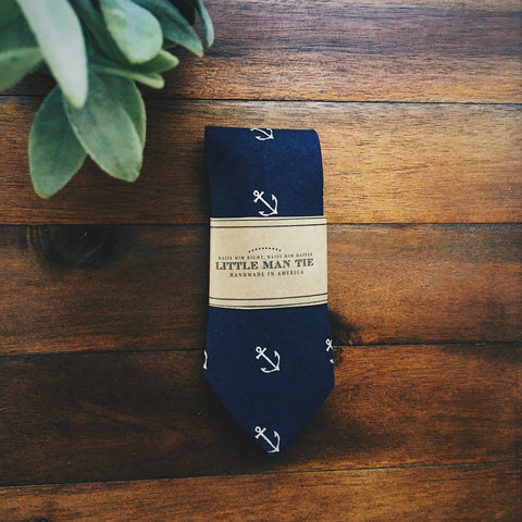 Navy Anchor Little Man Tie