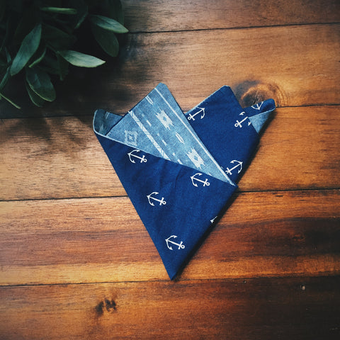Maya Anchor Pocket Square - Lord and Lady