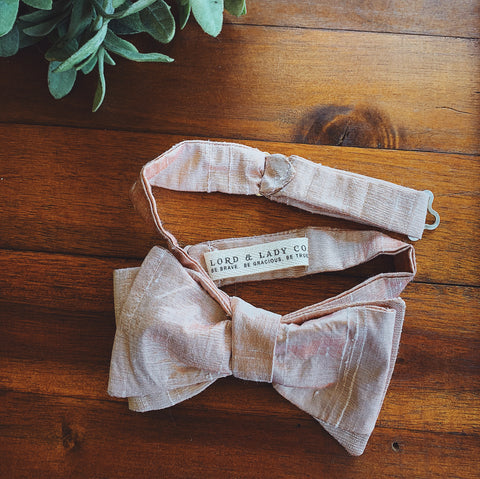 Blush Silk Dupioni Bow Tie