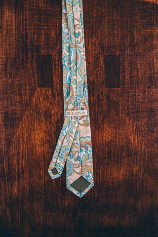 Light Blue Paisley Skinny Tie - Lord and Lady