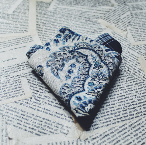 Blue Porcelain Pocket Square