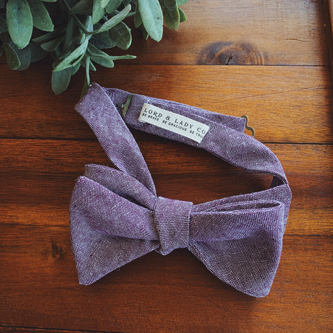 Lavender Chambray Bow Tie