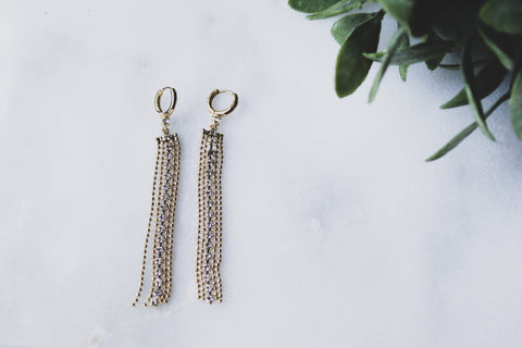 Gatsby Earrings || Art Deco Chain Tassel Earrings || Waterfall Gold Earrings