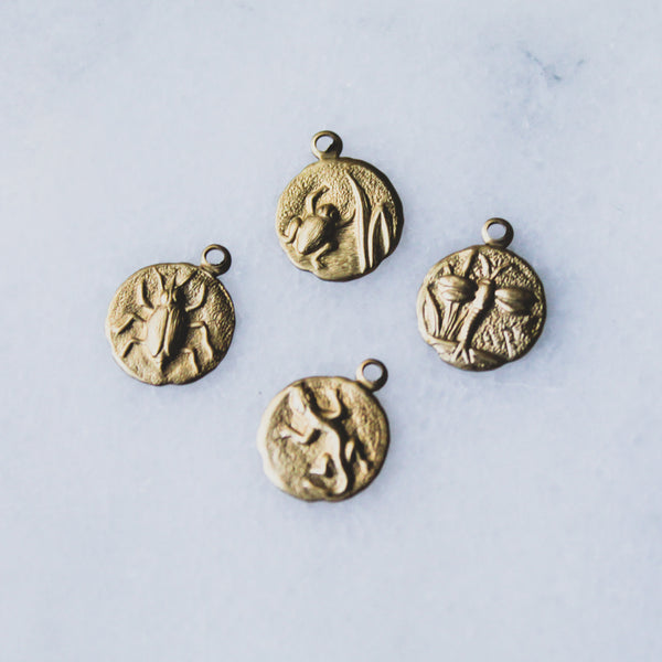 Grotto Medallion Series - Frog, Dragonfly, Beatle, Lizard - Gold