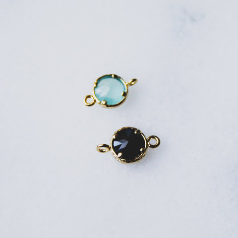 Dainty Circle Charms - Gold-framed Glass Crystals - Onyx or Aquamarine