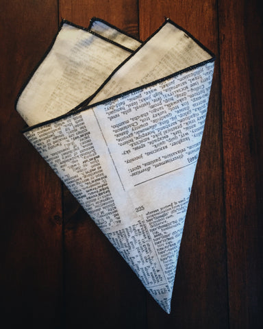 Newsprint Pocket Square - Lord and Lady