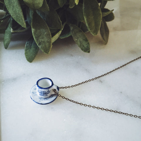 Japanese Teacup Necklace - Lord and Lady