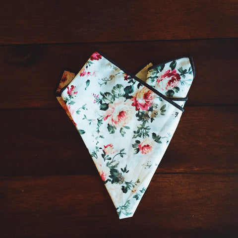 Dapper Rose Pocket Square - Lord and Lady