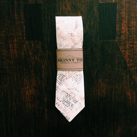 Newsprint Skinny Tie - Lord and Lady