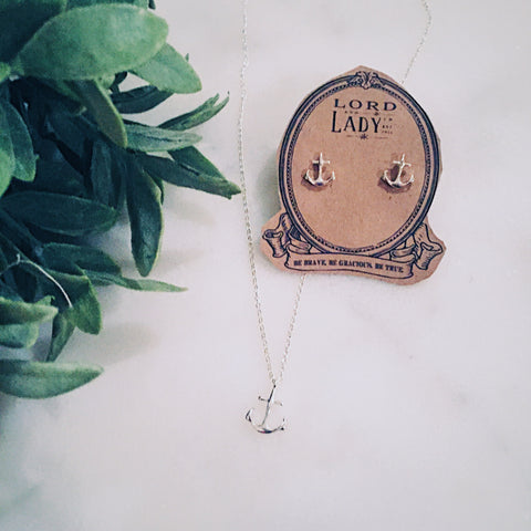 Silver Anchor Necklace - Lord and Lady