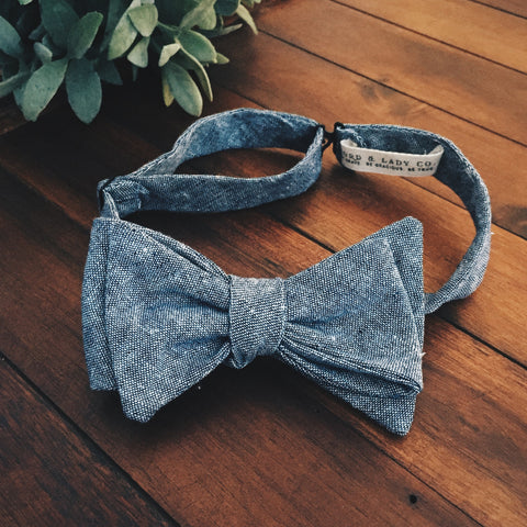Blue Chambray Bow Tie - Lord and Lady