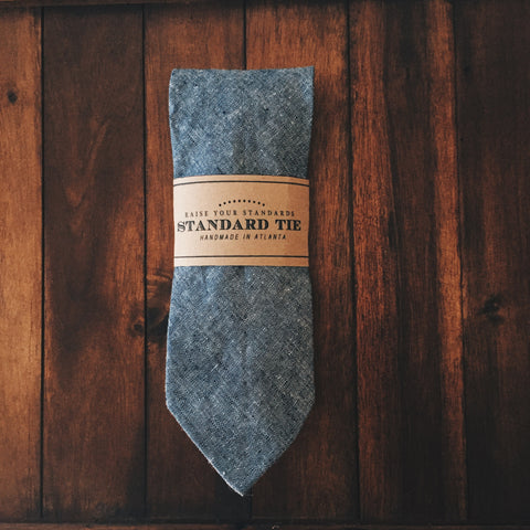 Blue Chambray Standard Tie - Lord and Lady