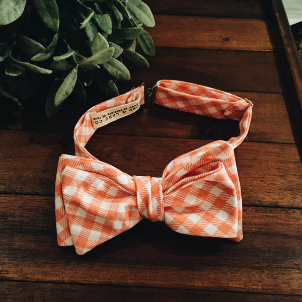 Tangerine Gingham Bow Tie - Lord and Lady