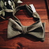 Olive Linen Bow Tie - Lord and Lady