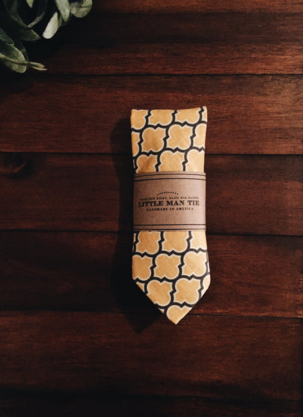 Mustard Lattice Little Man Tie