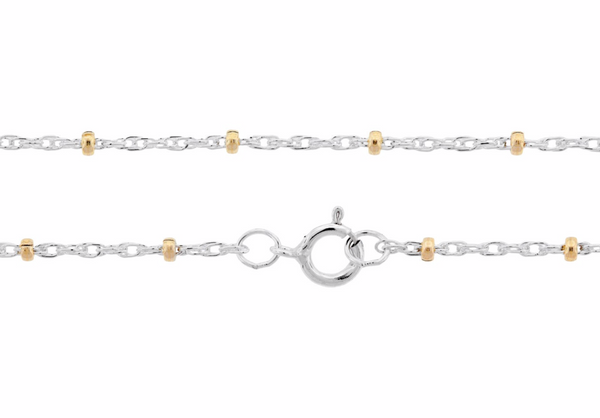 "Dainty Satellite Chain - Sterling Silver with 14k Gold Filled Beads - 24"" Length"