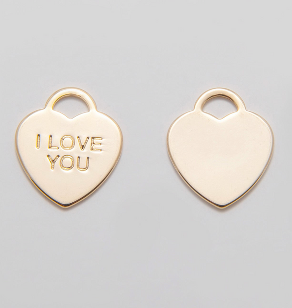 I Love You Charm - Heart Padlock - Gold