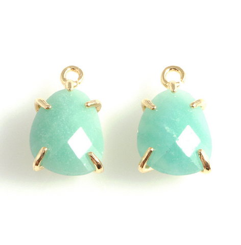 Jade Amazonite Charm - Gold Prong Setting