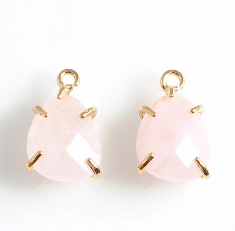 Rose Quartz Charm - Gold Prong Setting
