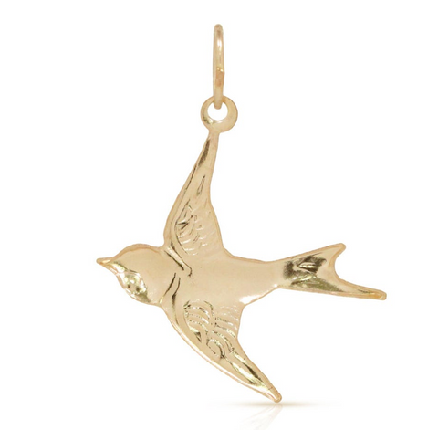 His Eye is on the Sparrow Charm - Bird Pendant - 14k Gold filled