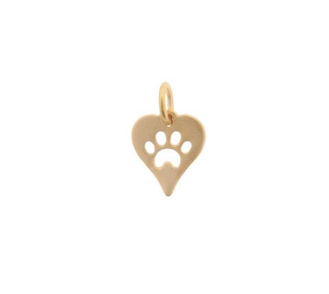 Paw-Print Heart Charm - 24k Gold Plated