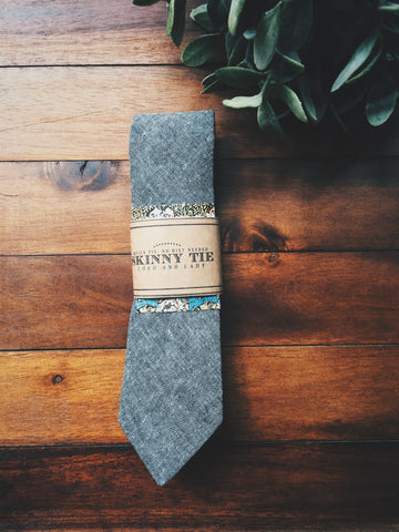 Gray Chambray Skinny Tie - Lord and Lady