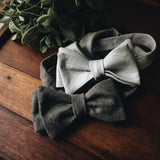 Charcoal Linen Bow Tie