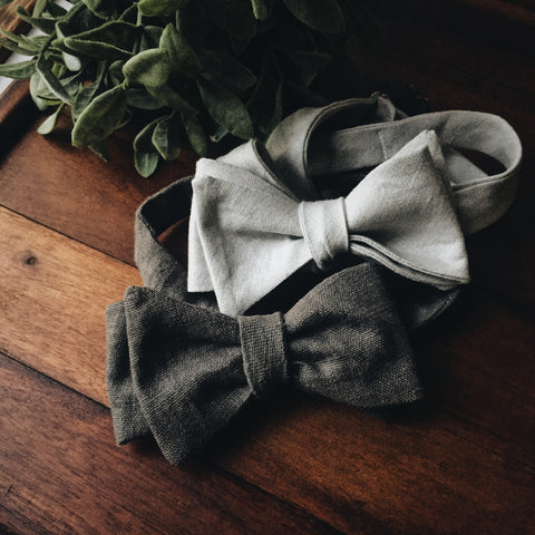 Charcoal Linen Bow Tie - Lord and Lady