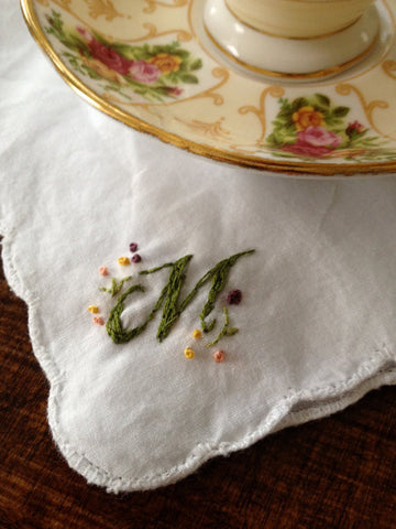 Tea Garden Hand-Embroidered Handkerchief - Lord and Lady