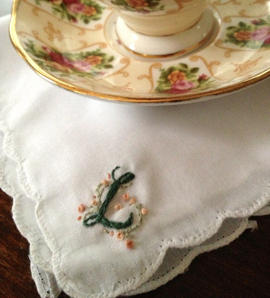 Manderly Hand-Embroidered Handkerchief - Lord and Lady