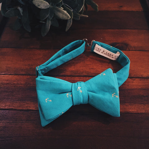 Turquoise Anchor Bow Tie - Lord and Lady