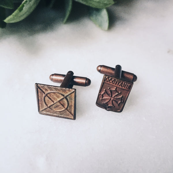Occitanie - Vintage French Medal Cuff Links (One of a Kind) - Lord and Lady