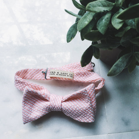 Peach Seersucker Bow Tie - Lord and Lady