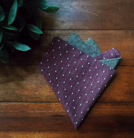 Plum Pin Dot Pocket Square - Lord and Lady