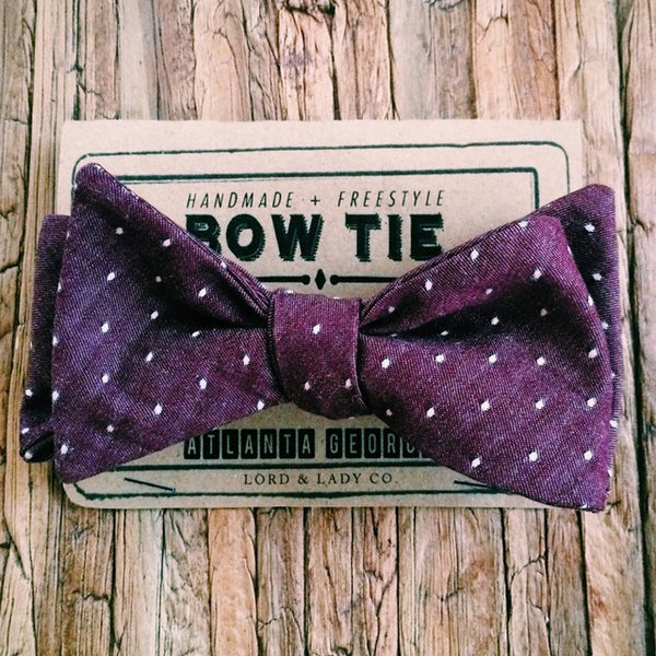 Plum Pin Dot Bow Tie - Lord and Lady
