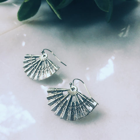 Silver Fan Earrings - Lord and Lady