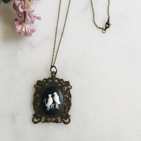 Lovebirds Cameo Necklace - Lord and Lady
