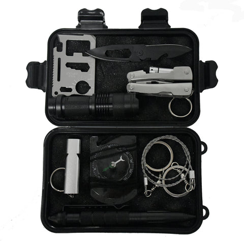 10 in 1 Outdoor Survival Emergency Kit SOS Survival box self-help box SOS equipment for Camping Hiking