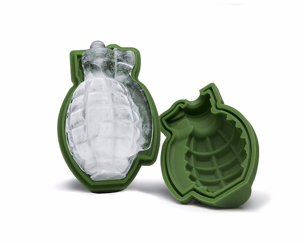 1PC Creative Bar Accessories Green 3D Grenade Large Ice Cube Mold Tray Food Grade Silicone Ice Mold Whiskey Ice Maker Kitchen