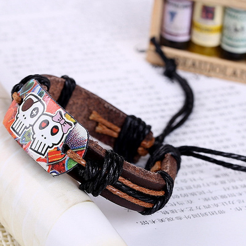 Steampunk Style leather cord bracelet