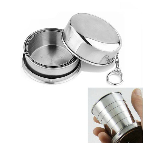 2017 1Pcs Stainless Steel Folding Cup Travel Tool Kit Survival EDC Gear Outdoor Sports Mug Portable for Camping Hiking Lighter