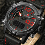 2017 NAVIFORCE Brand Men's Led Digital Quartz Watch Mens Military Sports Watches Leather Multi Colors Available
