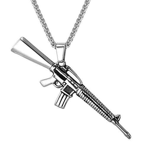 AK47 / M9/ M16 / UZI Rifle Shape Pendant & Necklace Rock Army Style Cool Men Jewelry