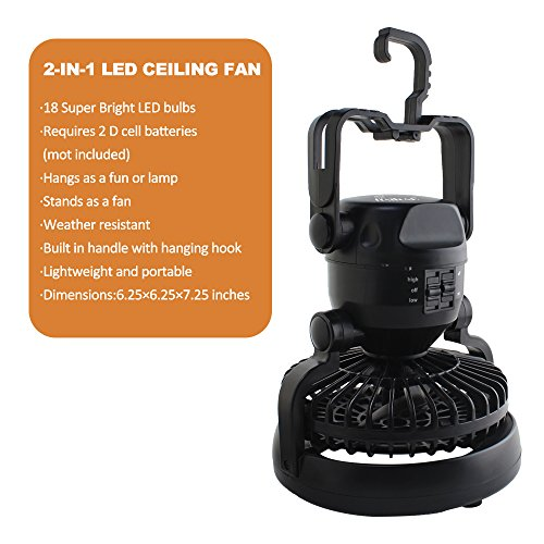 2 IN 1 Portable LED Camping Lantern with Ceiling Fan 18 LED Flashlight Ceiling Fan for Outdoor Hiking Fishing Outages and Emergencies Tent