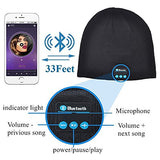 Bluetooth Beanie Hat Music Beanie Wireless Cap with Built-in Stereo Speakers and Microphone for Winter Sports and Outdoor Sports Black