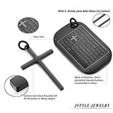 Stainless Steel Dog Tags Cross Necklaces for Men Prayer Cross Necklace Military Rolo Chain 3mm 24 Inch